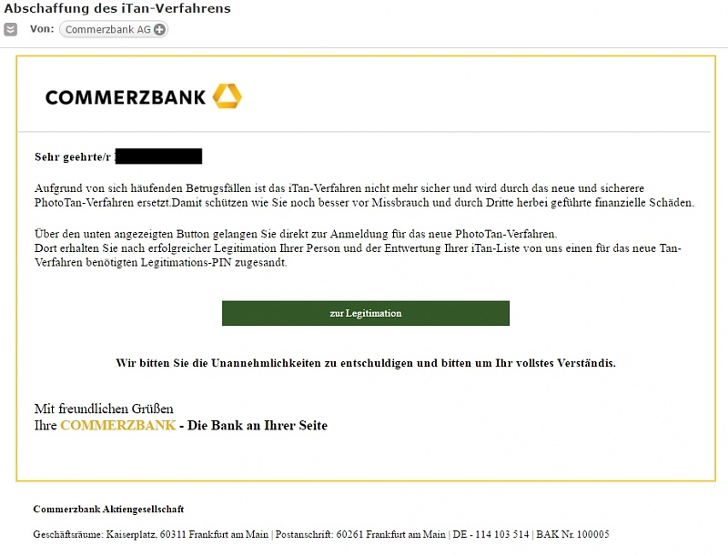 Commerzbank Spam Mail